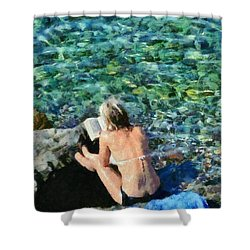 Painting Of Woman In Hydra Island Shower Curtain