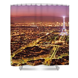 Shower Curtain featuring the photograph Paris Cityscape At Night / Paris by Barry O Carroll