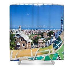 Park Guell In Barcelona Shower Curtain by Michal Bednarek