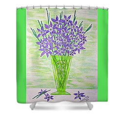 Parrot Green Depression Glass Shower Curtain by Kathy Marrs Chandler
