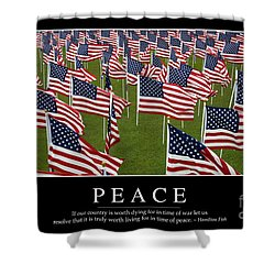 Peace Inspirational Quote Shower Curtain by Stocktrek Images
