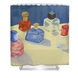 Perfume Bottles Shower Curtain by Patricia Cleasby