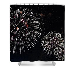Shower Curtain featuring the photograph Pink Fireworks by Lilliana Mendez
