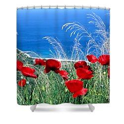 Poppy Flowers Shower Curtain by George Atsametakis