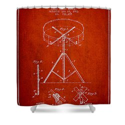 Portable Drum Patent Drawing From 1903 - Red Shower Curtain