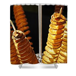 Shower Curtain featuring the photograph Potatoes On A Stick by Lilliana Mendez