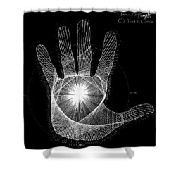 Quantum Hand Through My Eyes Shower Curtain by Jason Padgett