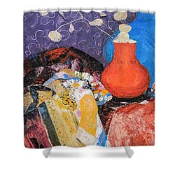 Red Vase Among Fabrics Shower Curtain
