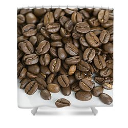Shower Curtain featuring the photograph Roasted Coffee Beans by Lee Avison