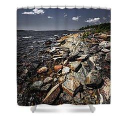 Rocky Shore Of Georgian Bay Shower Curtain by Elena Elisseeva