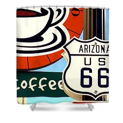 Route 66 Coffee Shower Curtain by Valerie Reeves