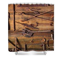 Rusty Tools Shower Curtain by Carlos Caetano