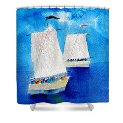 2 Sailboats Shower Curtain