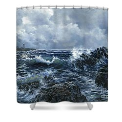 Shower Curtain featuring the painting Sailor's Light by Lynne Wright
