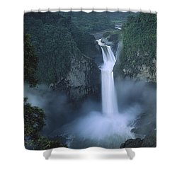 San Rafael Falls On The Quijos River Shower Curtain by Pete Oxford