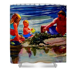 Sandcastles With Daddy Shower Curtain by Julianne Felton