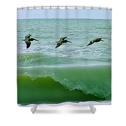 Sanibel Pelicans Shower Curtain by John Wartman