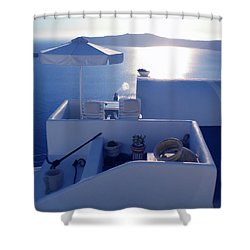 Santorini Island Greece Shower Curtain by Colette V Hera  Guggenheim