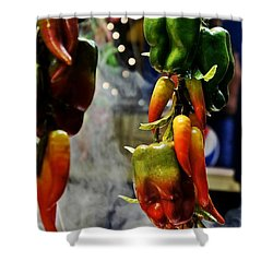 Shower Curtain featuring the photograph Sausage And Peppers by Lilliana Mendez