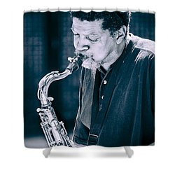 Saxophone Player 2 Shower Curtain by Carolyn Marshall