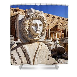 Sculpted Medusa Head At The Forum Of Severus At Leptis Magna In Libya Shower Curtain by Robert Preston