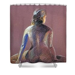 Seated Female Model Shower Curtain