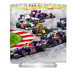 Sebastian Vettel Leads The Pack Shower Curtain