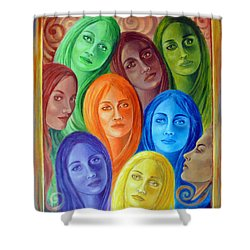 Serene Sisters Shower Curtain by Sylvia Kula