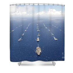 Ships And Submarines Participating Shower Curtain by Stocktrek Images
