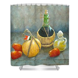 Sicilian Table Shower Curtain by Pamela Allegretto