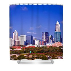 Skyline Of Uptown Charlotte North Carolina At Night Shower Curtain by Alex Grichenko