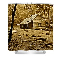 Smoky Mountain Cabin Shower Curtain by Frozen in Time Fine Art Photography