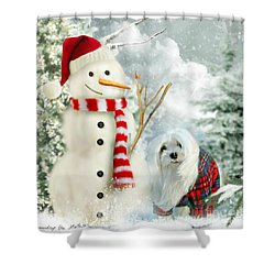 Shower Curtain featuring the mixed media Snowdrop And The Snowman by Morag Bates