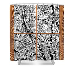 Snowy Tree Branches Barn Wood Picture Window Frame View Shower Curtain by James BO  Insogna