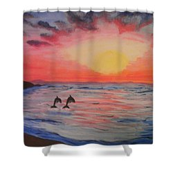 Shower Curtain featuring the painting 2 Souls Reunited by Thomasina Durkay