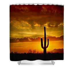 Southwestern Style Sunset  Shower Curtain by Saija  Lehtonen