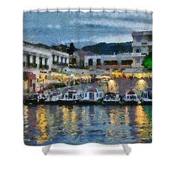 Spetses Town During Dusk Time Shower Curtain