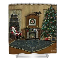 St. Nicholas Sitting In A Chair On Christmas Eve Shower Curtain by John Lyes