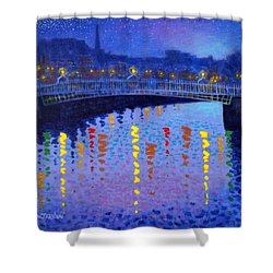 Starry Night In Dublin Shower Curtain by John  Nolan