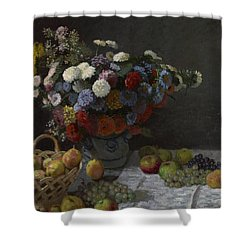 Still Life With Flowers And Fruit Shower Curtain