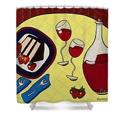 Strawberry Wine Shower Curtain by Barbara McMahon