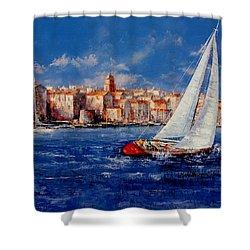 St.tropez - France Shower Curtain by Miroslav Stojkovic - Miro