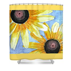 Shower Curtain featuring the painting Summer Susans by Angela Davies