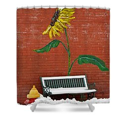 Sunflower And Snow Shower Curtain by Chris Berry