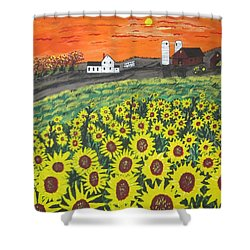 Sunflower Valley Farm Shower Curtain by Jeffrey Koss
