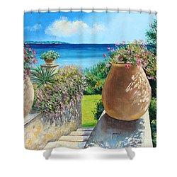 Sunny Terrace Shower Curtain by Jean-Marc Janiaczyk