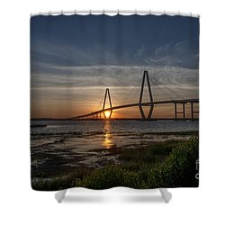 Sunset Over The Bridge Shower Curtain