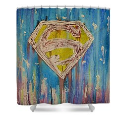 Superman's Shield Shower Curtain by Justin Moore