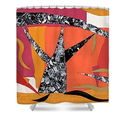 Shower Curtain featuring the mixed media T Tree by Mary Bedy