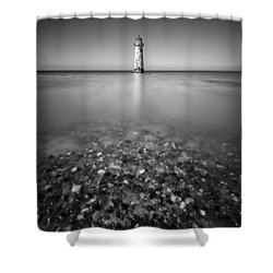 Talacre Lighthouse Shower Curtain by Dave Bowman